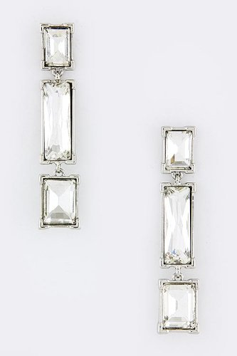 Contempo Couture Radiant Crystal Drop Earrings (Clear/Silver) front-196785