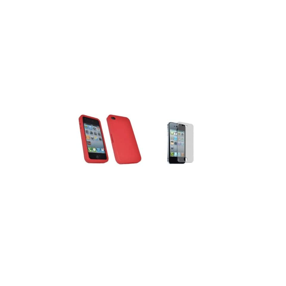 Mobile Palace   Red silicone skin case cover pouch holster with screen protector for Iphone 4