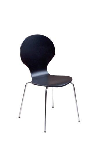 """Set di 4 sedie """"Formici"""", con telaio cromato e seduta in MDF, colore: nero"""
