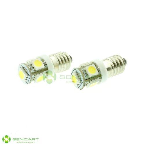 E10 Ey10 1.2W 6500K 70-Lumen 5-5050 Smd Led Screw White Light Bulbs (Pair/Dc 12V)