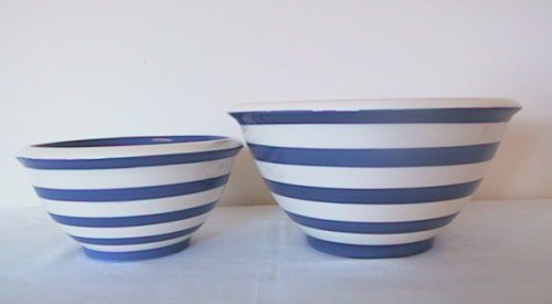 Buy Ronnie's Terramoto Ceramic, 2-Piece Mixing Bowl Set, 4qt, 2qt, Royal Blue Stripes