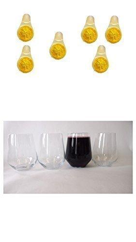 Verre à vin sans manche 450ml Clair Lot de 4+ 6Mini citrons pour votre lave-vaisselle de Conny Clever