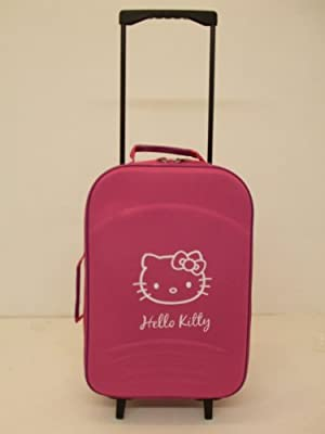 "Childrens 20"" Hot Pink And Purple Hello Kitty Super Lightweight Rolling Suitcase Onboard Cabin Flight Bag On 2 Wheels"