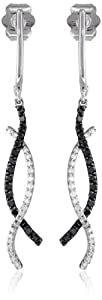 10k White Gold Black and White Diamond Twist Earrings (1/3 cttw)