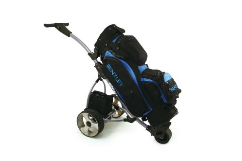 2013 BENTLEY ELECTRIC GOLF CADDY TROLLEY 35AMP BATTERY SILVER  &  TOUR BAG