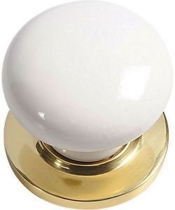 ton Ceramic Mortice Door Knob Set - White/Bras by New A-Brend