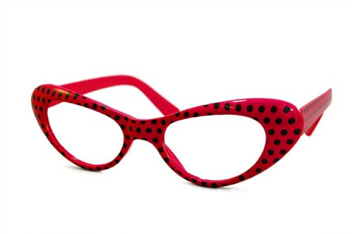 Hip Hop 50S Shop Adult Cateye Polka Dot Glasses - Red And Black
