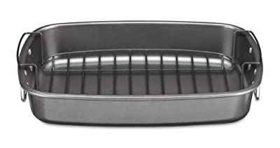 Cuisinart CSR-1712R Ovenware Classic Collection 17 by 12-Inch Roaster with Removable Rack (4)