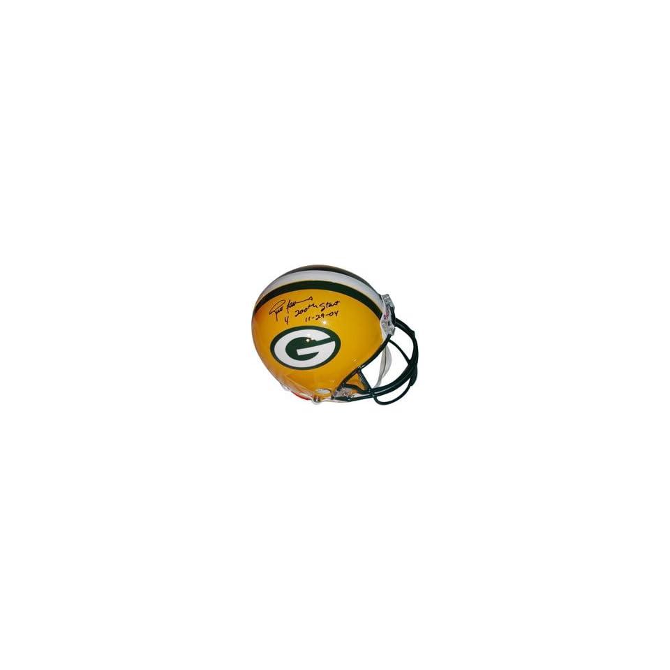 Brett Favre Green Bay Packers Autographed Pro Line Helmet with 200th Start 11 29 04 Inscription