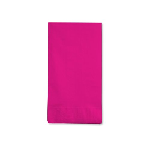 Creative Converting Touch of Color 16 Count 3-Ply Paper Guest Napkins, Hot Magenta