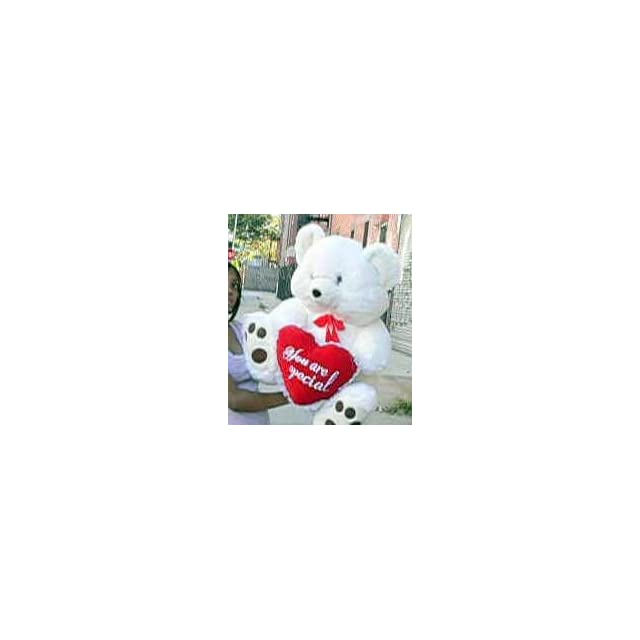 GIANT TEDDY BEAR   30 inches Tall by 24 inches Wide   SOFT, FAT, PREMIUM QUALITY, PLUSH TEDDY BEAR * Holds big HEART That Says YOU ARE SPECIAL * COLOR WHITE   PERFECT FOR VALENTINES DAY or ANYDAY Toys & Games