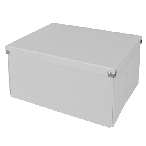 Pop n' Store Decorative Storage Box with Lid - Collapsible and Stackable - Large Mega Box - White - Interior Size (14.625