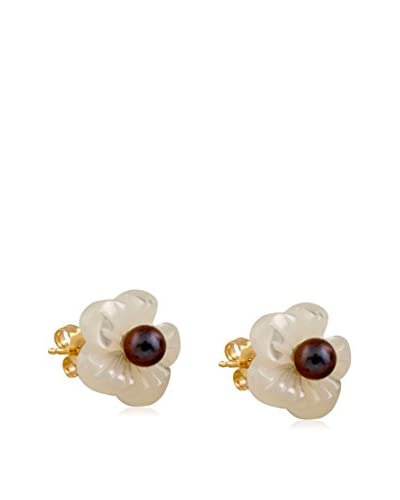 Splendid 3-3.5mm Black & White Pearl Flower Earrings