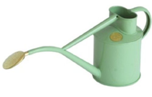 Haws Hand-Made 1-litre Metal Watering Can & Brass Rose, Gift Boxed, Sage Green