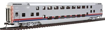 Painted, Unlettered - Silver withRed and Blue Stripes - Double Deck Push / Pull Commuter Car. HO Scale