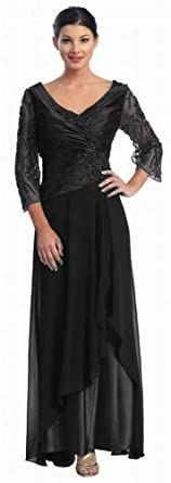 Mother of the Bride Formal Evening Dress #552 (Medium, Black)