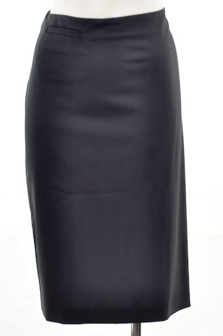 Eileen Fisher Black Wool Knee Pencil Skirt