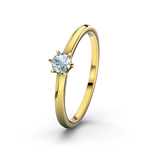 21DIAMONDS Mérida Aquamarine Brilliant Cut Engagement Ring, 9ct Yellow Gold Ladies Engagement Ring
