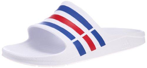 Adidas Duramo Slide, Ciabatte da Unisex Adulto, Bianco (White/True Blue/Red), 42 EU (8 UK)