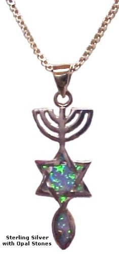 925 Sterling Silver Messianic Seal  Opals Holy