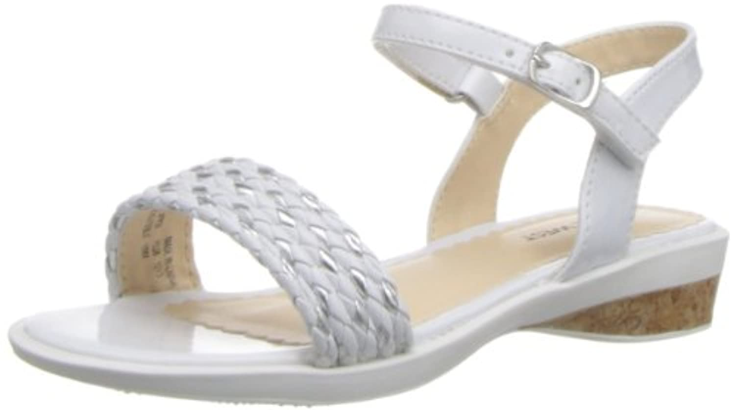 Nine West Edie-K Rubber Wedge Sandal (Toddler/Little Kid/Big Kid),White Polyurethane,7 M US Big Kid
