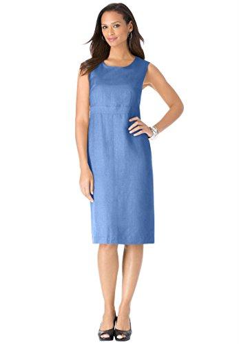 Plus Size Jessica London Linen Blend Sheath Dress (French Blue,38