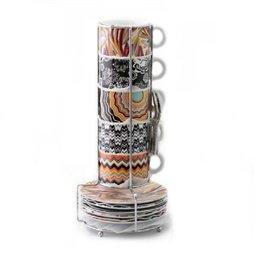 European Totem Printing Porcelain Coffee Mug Set 15Pcs