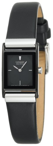Citizen Women's Eco-Drive Stainless Steel Black Leather Strap Watch #EW9215-01E