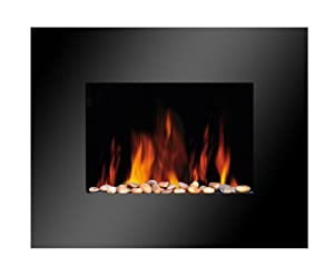 CANTERBURY BLACK PANEL FLAT GLASS WALL MOUNTED ELECTRIC FLICKER LIVING FLAME FIRE FIREPLACE