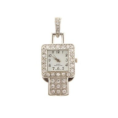 Zcl Zp 32Gb Silver Pendant Watch Pattern Crystal Jewelry Style With Clock Usb Flash Drive