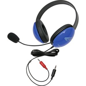 Children'S Listening First Stereo Headset With Dual 3.5Mm Plugs And Microphone - Blue