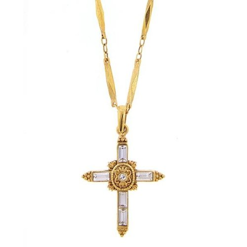 1928 Crystal Cross Gold Tone Necklace