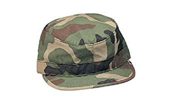 Woodland Camouflage Military Fatigue Cap (Polyester/Cotton Rip-Stop) 4513 Size X-Small