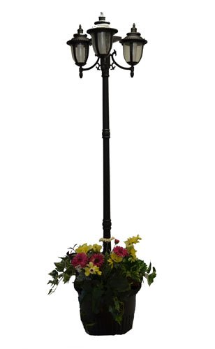 details about 7 ft 85 in tall solar lamp post and planter 3 heads. Black Bedroom Furniture Sets. Home Design Ideas