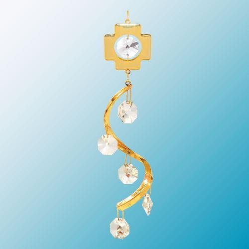 24K Gold Plated Hanging Sun Catcher Or Ornament..... Cross Topped Spiral With Clear Swarovski Austrian Crystal front-896886