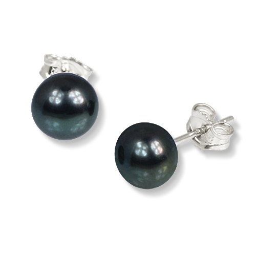 SilberDream black Freshwater Cultured Pearl Stud Earrings, 925 Sterling Silver SDO108S