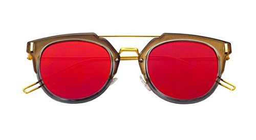 [GAMT Vintage Tablet Sunglasses Flat Reflective Mirror Half Frame Sunglasses UV400 (Gold-red, 63)] (Prescription Novelty Contact Lenses)