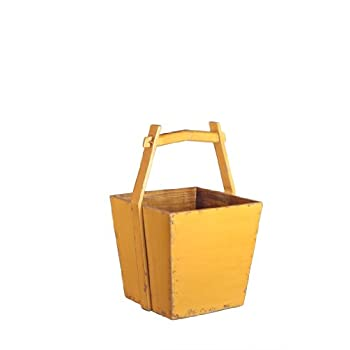 Antique Revival Wooden Water Bucket, Yellow