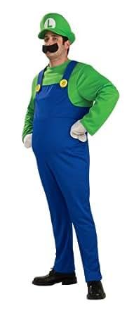 Super Mario Brothers Deluxe Luigi Costume, Blue/Green, Small