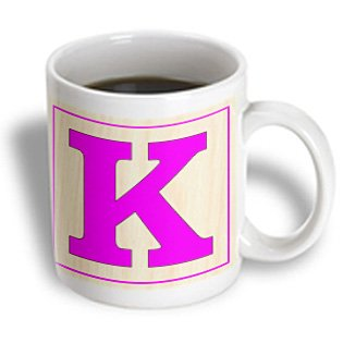 Florene - Childrens Wooden Block Letters - Print Of Large Retro Fuchsia K On Wood Block - Mugs - 11Oz Mug - Mug_194575_1