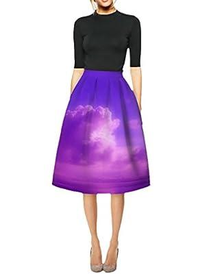 Ninimour Womens 3D Scenery Printed High Waist Knee High Pleated Midi Princess Skirt