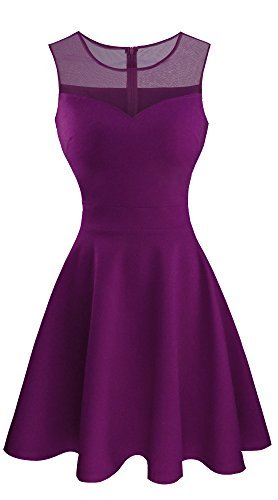 Heloise Women's A-Line Sleeveless Pleated Little Purple Cocktail Party Dress (M, Purple)
