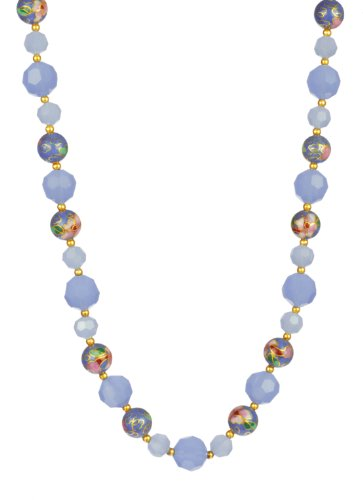 Baby Blue Floral Cloisonne and Faceted Glass Bead Necklace 18
