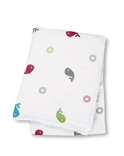 """Lulujo Baby Muslin Cotton Swaddling Blanket, Baby Whale, 47"""" x 47"""""""