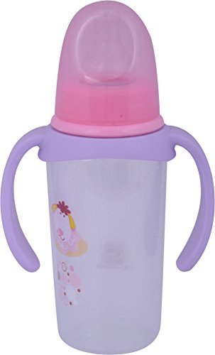 Baybee Baby Feeding Bottle With Handle, 125 Ml (Pink And Violet)
