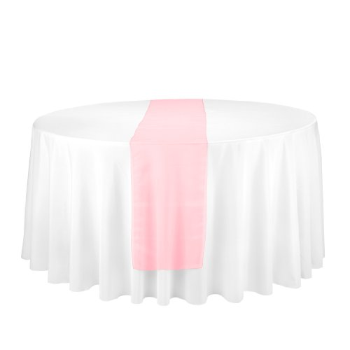 Linentablecloth Organza Table Runner Coral, 14-Inch By 108-Inch, Coral front-555277