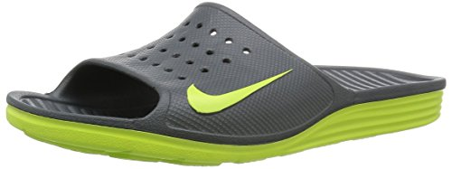 NIKE SOLARSOFT SLIDE, Multicolore (Gris / Verde (Dark Grey / Volt-Volt)), 45