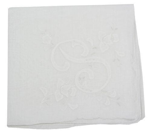 Cotton Handkerchief With Large Monogram 4 Hankie Colors: Letter P Embroidered In White