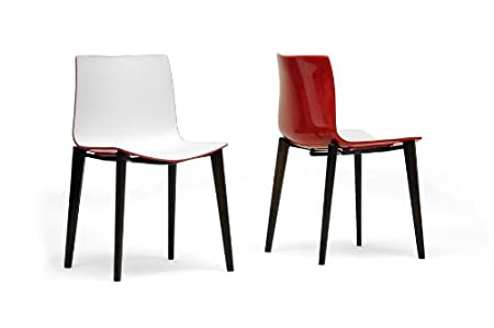 Soren White and Red Modern Dining Chair with Chanasya Polish Cloth Bundle (Set of Two)