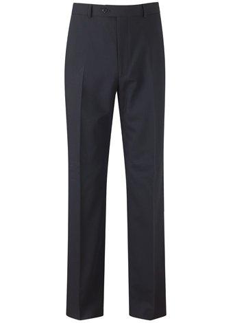 Austin Reed Regular Fit Navy Travel Trousers LONG MENS 34